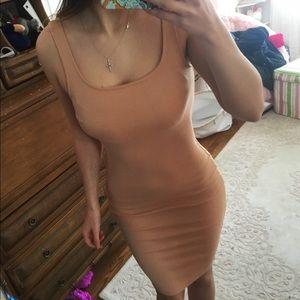 👗 cream tan nude midi tight dress long